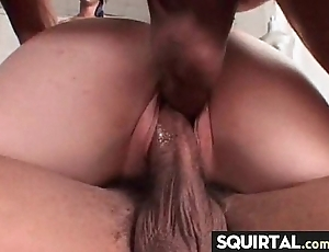 Massive squirting increased by creampie unmasculine interjection 13