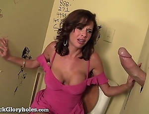 Debauched milf sucks chubby horseshit back public bathroom!