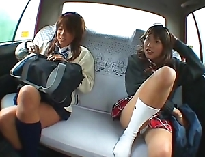 Asian two schoolgirl plus taxi-cub cup-boy throng coition surrounding rub-down the railway carriage
