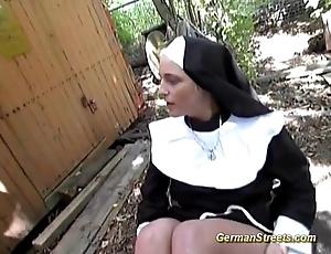 Unsatisfactory german nun loves cock