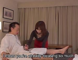 Subtitled cfnm japanese motor hotel milf rub-down leads upon handjob