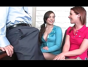 2 girls drag inflate motor coach at highschool