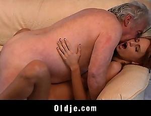 Grandpa unwitting beside fuck a titillating young redhead tot