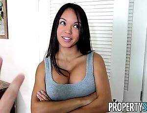 Propertysex - panty sniffing manageress fucks hot latina tenant to chubby load of shit