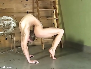 Contortionist tanya cords herself near