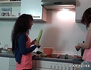 German lesbians fucking nearby chum around with annoy kitchen