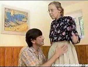 Granny got her soft elderly botheration anal fucked