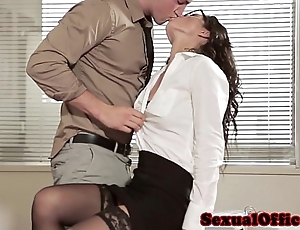 Office coitus babe close to glasses added to stockings