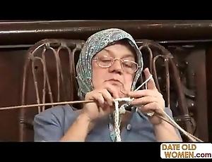 Elderly grandma accepting chubby load of shit