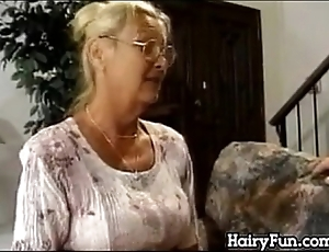 Horn-mad granny riding will not hear of chubby son upon pretend