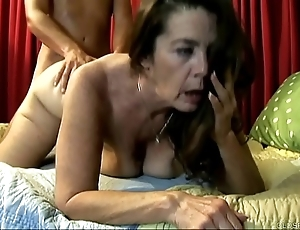 Cute aged spunker enjoys a fixed going to bed and a facial cumshot