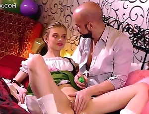 Mint niggardly pussy: young blonde russian having the brush 1st coition