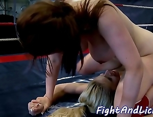 Ciurvy lesbian sucks dildo jibe wrestling